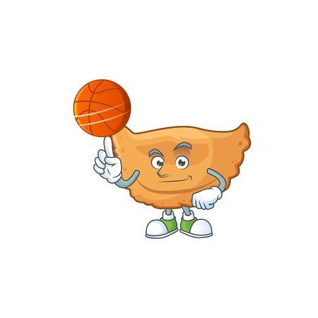An athletic cornes de gazelle cartoon design style playing basketball. Vector illustration Illustration