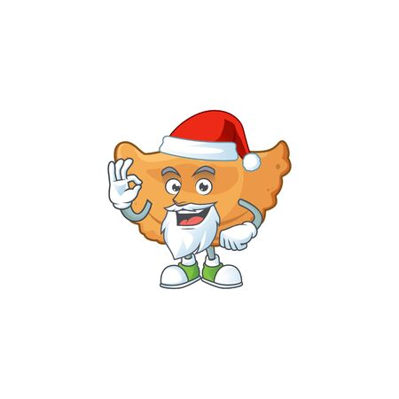 Friendly cornes de gazelle Santa cartoon character design with ok finger. Vector illustration