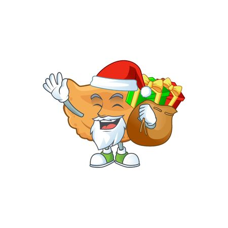 Santa cornes de gazelle Cartoon character design with sacks of gifts. Vector illustration
