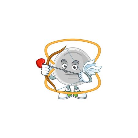 Charming picture of N95 mask Cupid mascot design concept with arrow and wings. Vector illustration