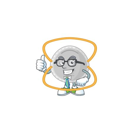 Cartoon character design of N95 mask successful businessman. Vector illustration