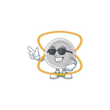 Super cute N95 mask cartoon character wearing black glasses. Vector illustration