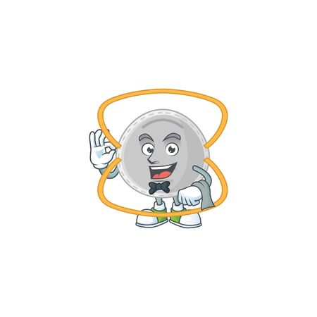 A N95 mask waiter cartoon character ready to serve. Vector illustration