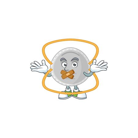 N95 mask mascot cartoon design with quiet gesture. Vector illustration