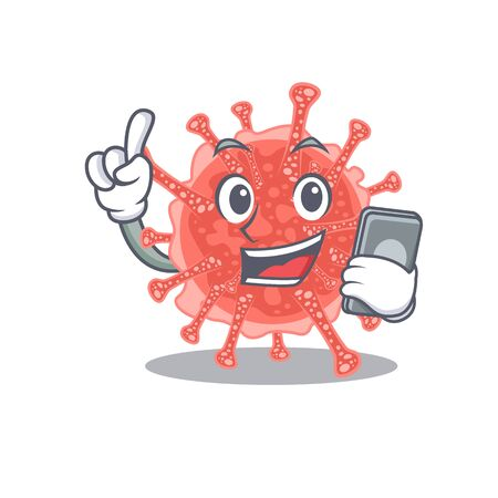 Oncovirus cartoon in character speaking on phone. Vector illustration