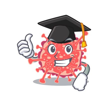 Happy face of polyploviricotina in black graduation hat for the ceremony. Vector illustration 向量圖像