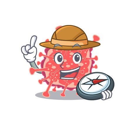mascot design concept of polyploviricotina explorer with a compass. Vector illustration