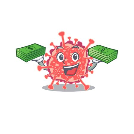 A wealthy polyploviricotina cartoon character having money on hands. Vector illustration