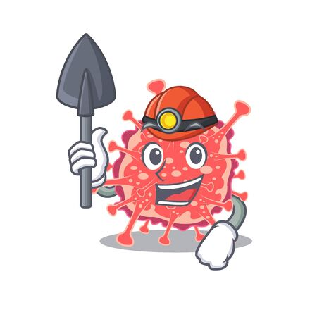 Polyploviricotina miner cartoon design concept with tool and helmet. Vector illustration