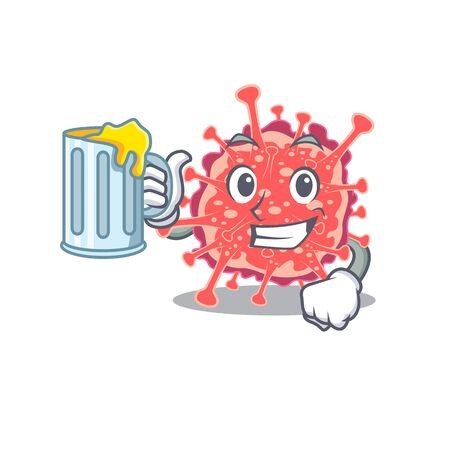 A cartoon concept of polyploviricotina rise up a glass of beer. Vector illustration 일러스트