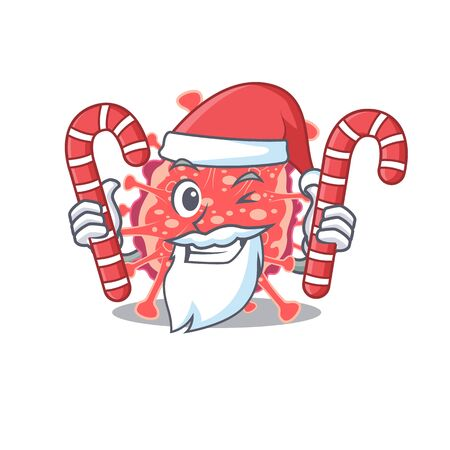Friendly polyploviricotina in Santa Cartoon character holds Christmas candies. Vector illustration