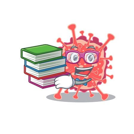 A diligent student in polyploviricotina mascot design concept with books. Vector illustration 일러스트