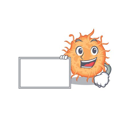 Bacteria endospore cartoon character design style with board. Vector illustration