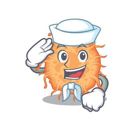 Sailor cartoon character of bacteria endospore with white hat. Vector illustration