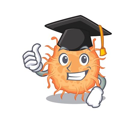 Happy face of bacteria endospore in black graduation hat for the ceremony. Vector illustration