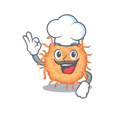 Bacteria endospore chef cartoon design style wearing white hat. Vector illustration