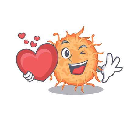 A sweet bacteria endospore cartoon character style with a heart. Vector illustration