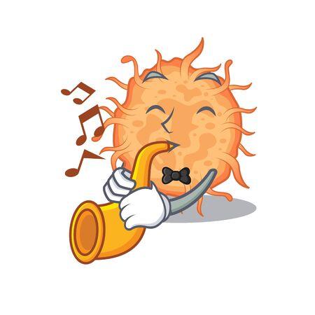 Talented musician of bacteria endospore cartoon design playing a trumpet. Vector illustration