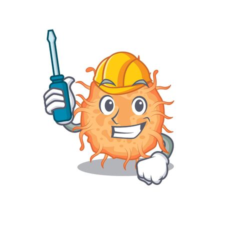 cartoon character of bacteria endospore worked as an automotive. Vector illustration