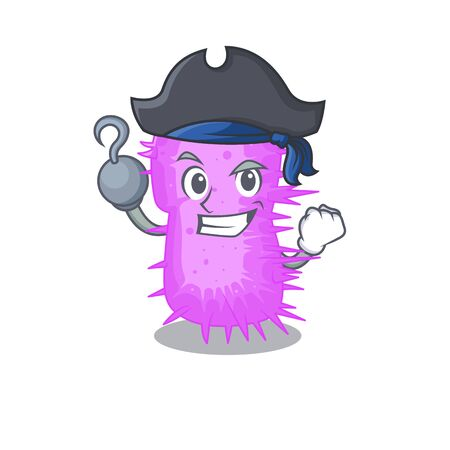 Acinetobacter baumannii cartoon design style as a Pirate with hook hand and a hat. Vector illustration Illustration