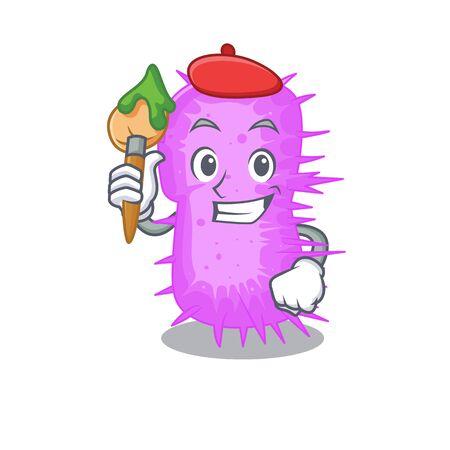 A creative acinetobacter baumannii artist mascot design style paint with a brush. Vector illustration