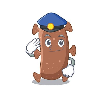 Police officer mascot design of actinomyces israelii wearing a hat. Vector illustration Vettoriali