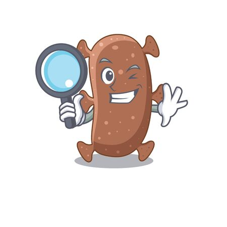 Smart Detective of actinomyces israelii mascot design style with tools. Vector illustration