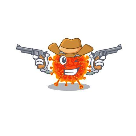 Cute handsome cowboy of riboviria cartoon character with guns. Vector illustration