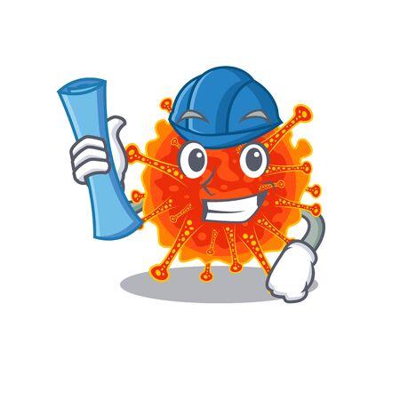 Cartoon character of riboviria brainy Architect with blue prints and blue helmet. Vector illustration