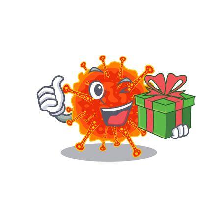 Smiling riboviria cartoon character having a green gift box. Vector illustration