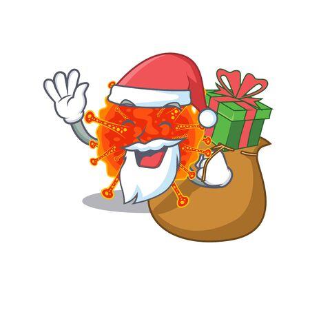 Cartoon design of riboviria Santa with Christmas gift. Vector illustration
