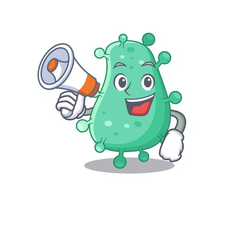 Cartoon character of agrobacterium tumefaciens having a megaphone. Vector illustration