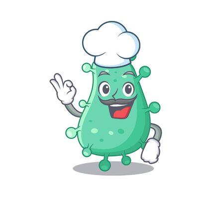 Agrobacterium tumefaciens chef cartoon design style wearing white hat. Vector illustration