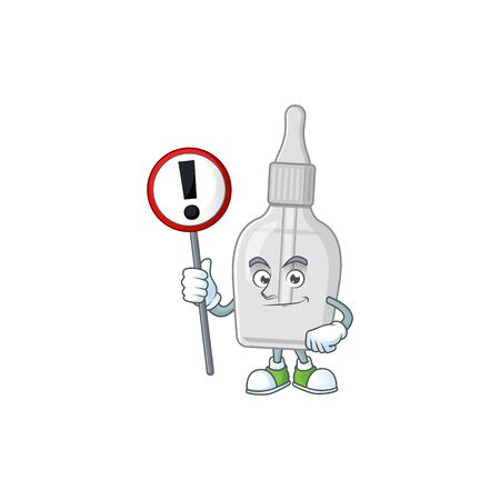 A picture of bottle with pipette cartoon character concept holding a sign Illustration