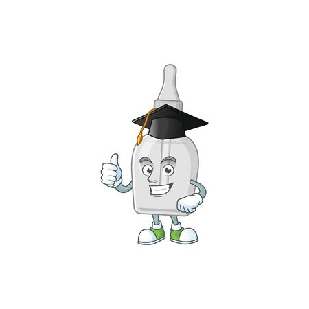 Mascot design concept of bottle with pipette proudly wearing a black Graduation hat Vettoriali
