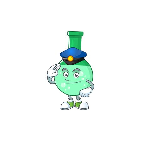 A dedicated Police officer of green chemical bottle mascot design style. Vector illustration