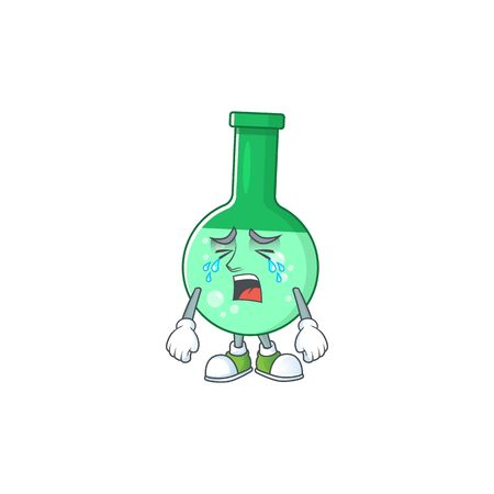 A weeping green chemical bottle cartoon character concept
