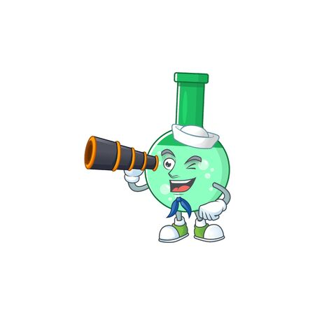 Green chemical bottle in Sailor cartoon character style using a binocular