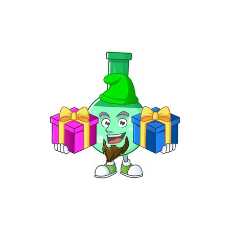 A smiling green chemical bottle cartoon design having Christmas gifts
