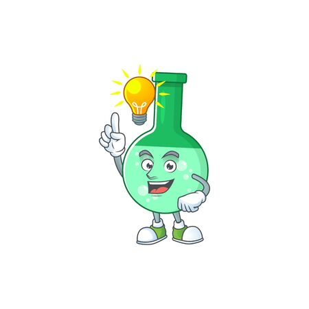 A genius green chemical bottle mascot character design have an idea
