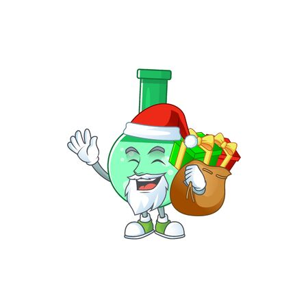 Santa green chemical bottle Cartoon character design with sacks of gifts