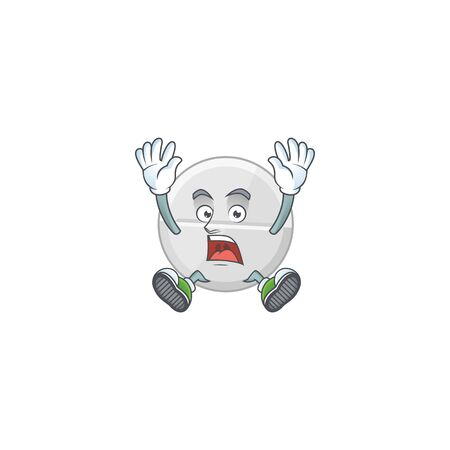 White pills cartoon character design showing shocking gesture. Vector illustration