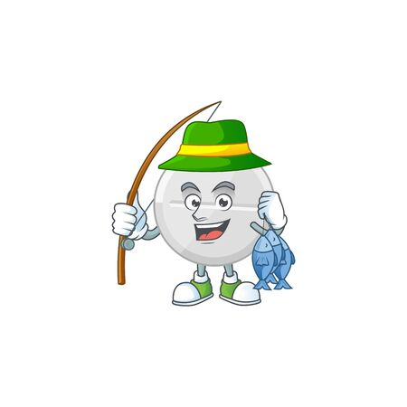 A Picture of white pills fisher mascot design catch a fish. Vector illustration