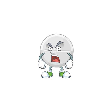 White pills cartoon character design with mad face. Vector illustration