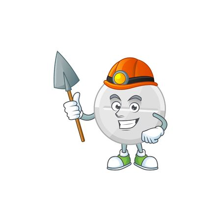 cartoon character design of white pills work as a miner. Vector illustration