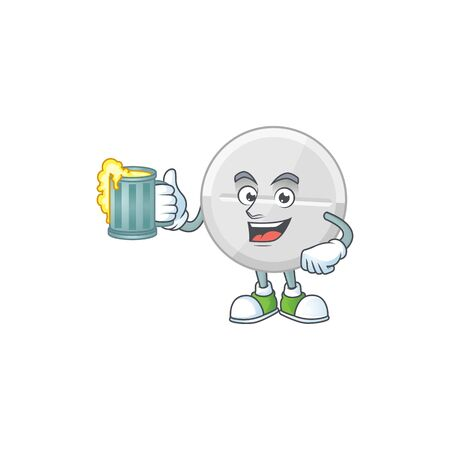 Happy white pills mascot style toast with a glass of beer. Vector illustration