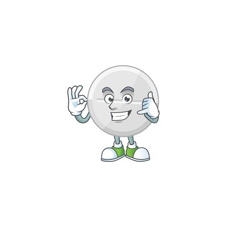 White pills mascot cartoon design make a call gesture. Vector illustration