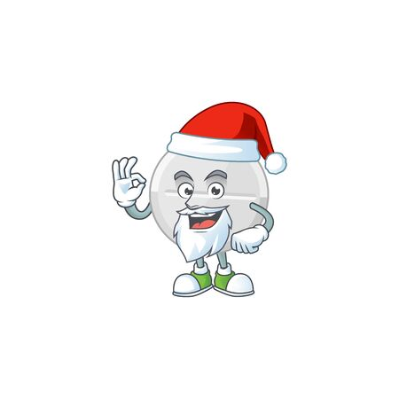 Friendly white pills Santa cartoon character design with ok finger. Vector illustration
