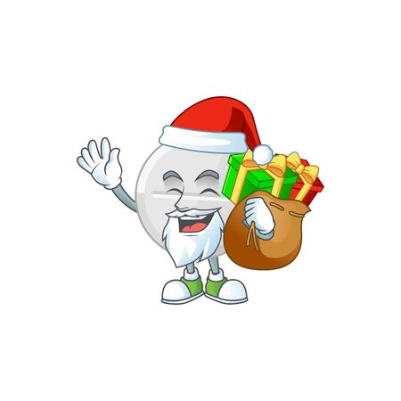Santa white pills Cartoon character design with sacks of gifts. Vector illustration