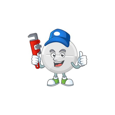Mascot design concept of white pills work as smart Plumber. Vector illustration